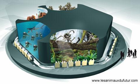 Maquette de l'attraction Les animaux du Futur