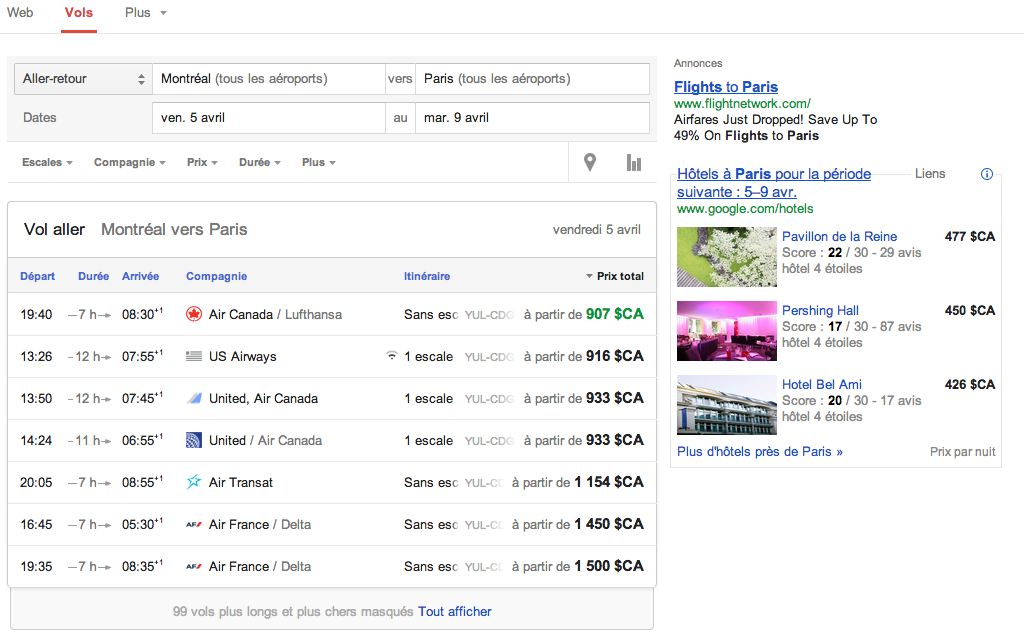 google flights le comparateur de vol disponible en france. Black Bedroom Furniture Sets. Home Design Ideas