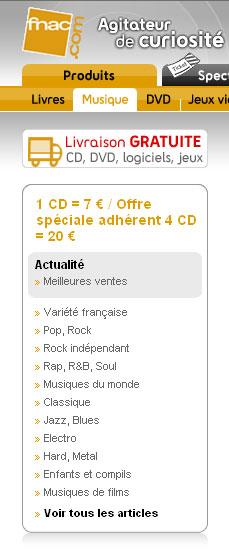 Offre CD Fnac